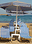 Empty sunbeds in Nea Chora beach, Chania