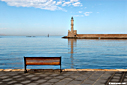 A bench in the harbour of Chania