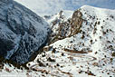 Xyloskala and the entrance of the Samaria gorge in winter