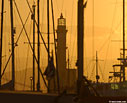 Chania lighthouse at sunset