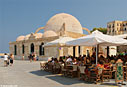 Café and mosque in the harbour of Chania