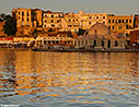Chania sea front at sunset