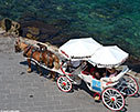 Horse-drawn carriage in Chania harbour