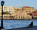 Chania harbour in the evening