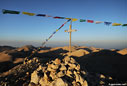 Prayer flags on the summit of Pachnes