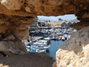 Chania harbour through a hole