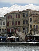 Old houses on the sea front of Chania harbour