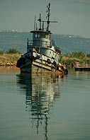 Abandoned tugboat in Souda harbour