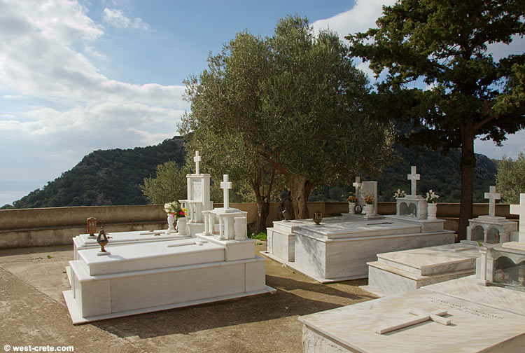 The graveyard in front of the chapel of Agios Georgios, Anidri  - click to enlarge