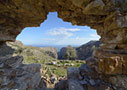 The gorge of Aradena through a hole in a wall