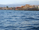 Arriving at the harbour of Chania
