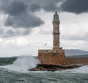 The lighthouse of Chania on a stormy day