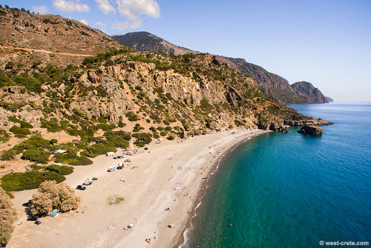 The beach of Sougia -  click on the image to enlarge