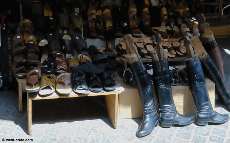 Sandals and boots in a shop of the Leather Street