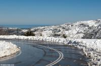 The road to Omalos in the winter