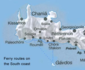 Ferry routes on the South coast of Crete