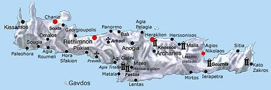 Carte Crete Sud Est.Regions De Crete