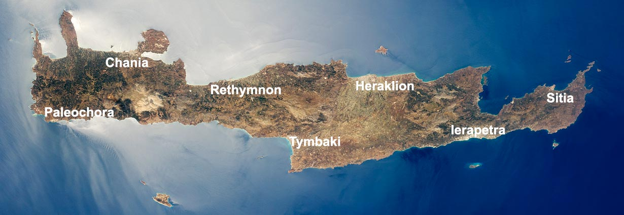 Satellite image of Crete