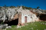 The small cave chapel of Agios Giorgos is located inside the northern hills of Akrotiri by an abandoned (monastic?) settlement. You can walk to it from Stavros in about 45 minutes.