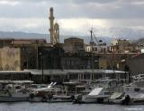 Chania harbour and the White Mountains in winter