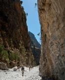 Walkers in the lower half of the gorge of Samaria