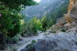 Early morning sun reaches the valley floor in the gorge of Agia Irini