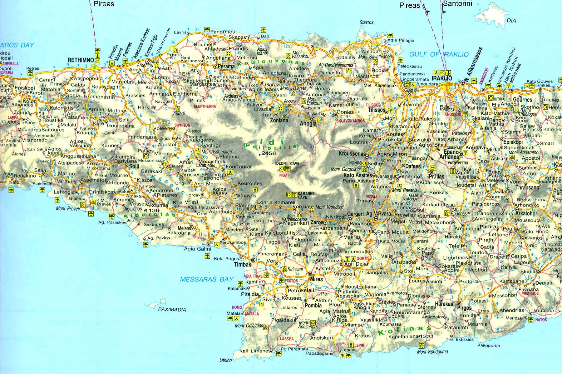Map of Central Crete - Click to enlarge