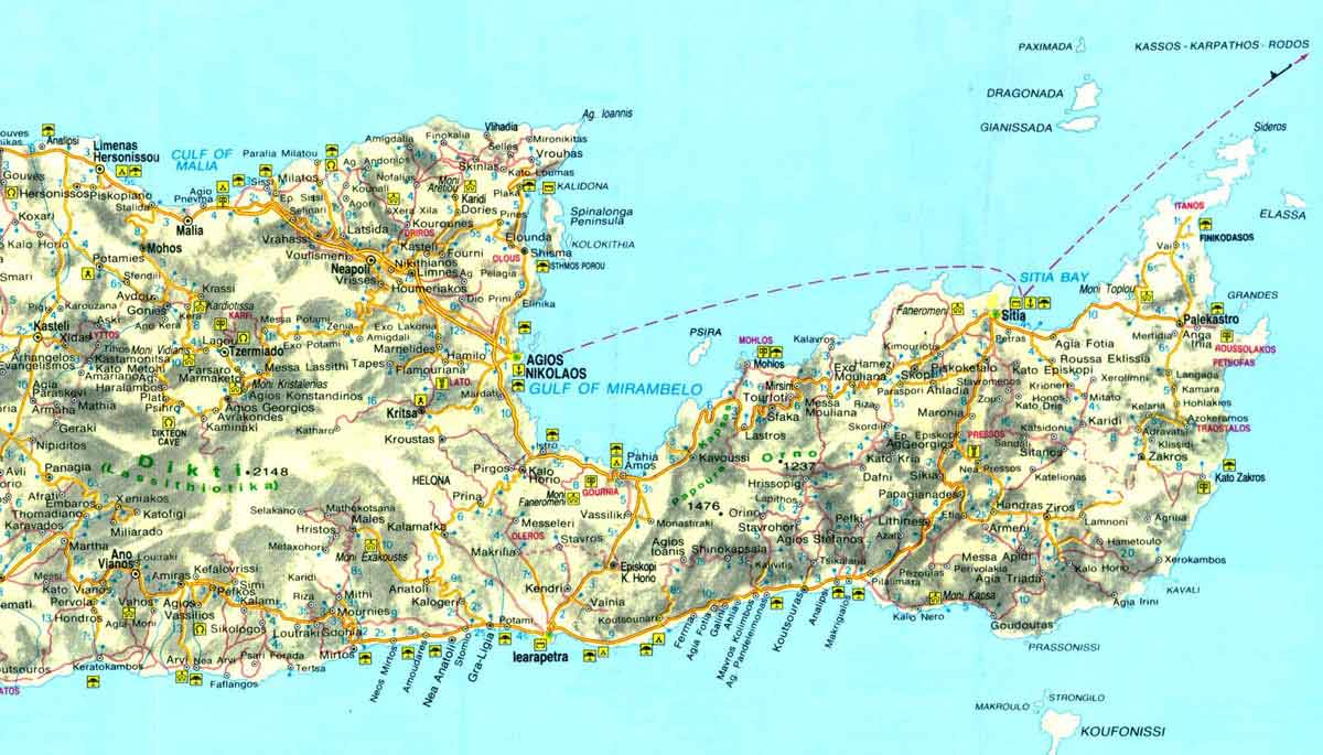 Map of East Crete - Click to enlarge