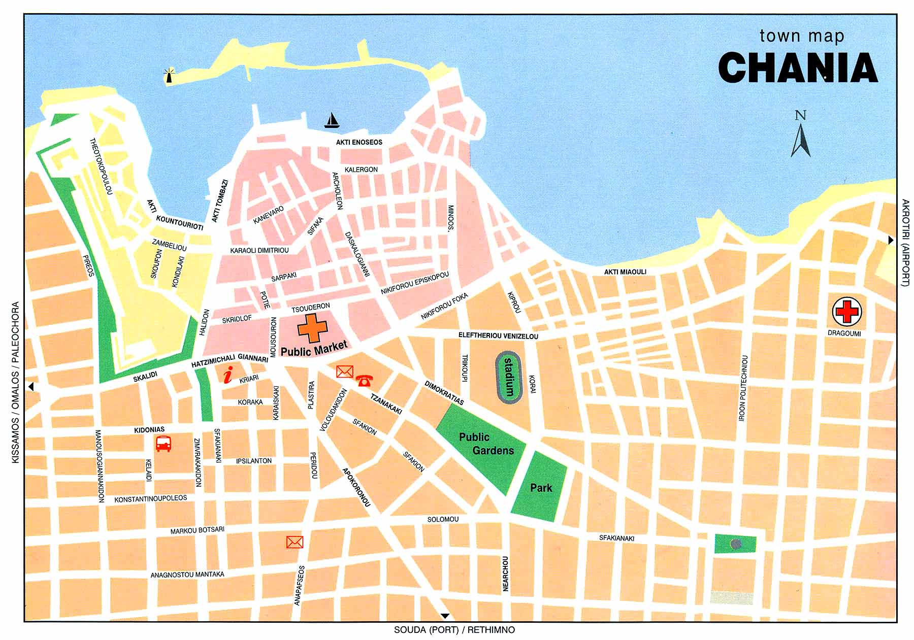 Map of Chania central part