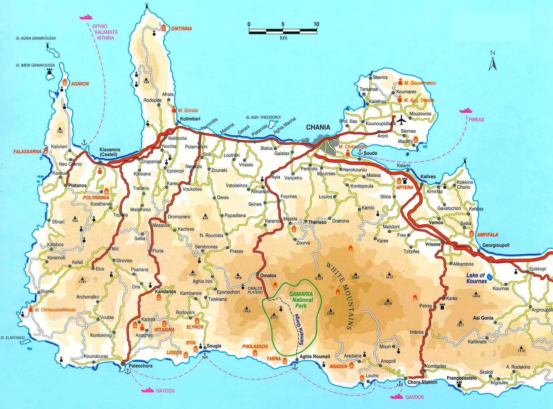 Map Of Crete Map of West Crete Map Of Crete