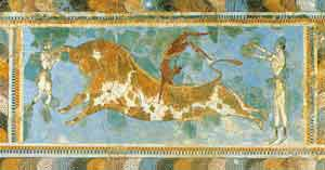 Minoan frescoe from the palace of Knossos, Heraklion Archeaological Museum