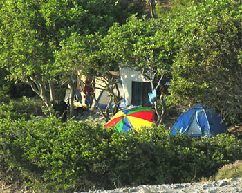 Tents near the beach of Sougia