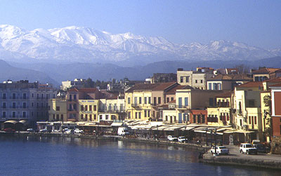 General view of the harbour of Chania