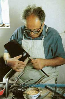 A traditional shoemaker