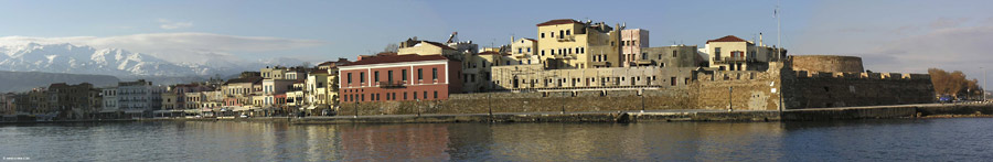 Chania harbour in winter