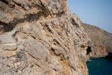 A section of the path connecting Sweet Water beach (and Loutro of course) to Hora Sfakion was built in a cliff and can be daunting if you suffer from vertigo. The path is quite wide and perfectly safe but of course that will not prevent some people from having trouble with it
