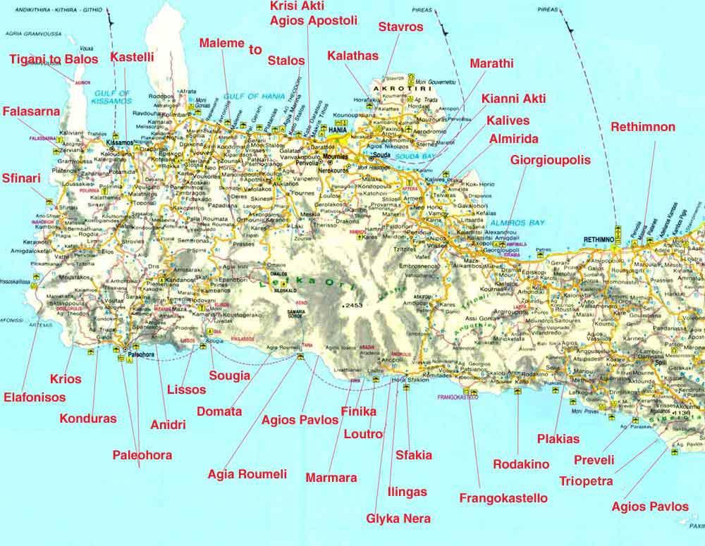 Cartina Geografica Isola Di Creta.Creta Occidentale Tutte Le Spiagge